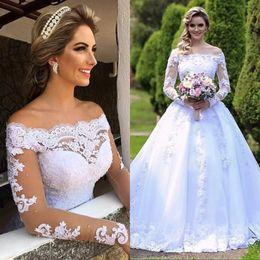 Wholesale long tailed t shirts for sale – plus size Vestido de Noiva Elegant Long Sleeves Wedding Dresses Lace Appliques Long Tail Luxury Wedding Gowns