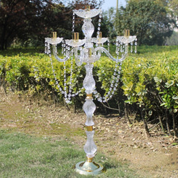 Candelabra Crystal Candle CenterpieCe online shopping - New cm height Acrylic arms golden color metal candelabras with crystal pendants wedding candle holder centerpiece pieces