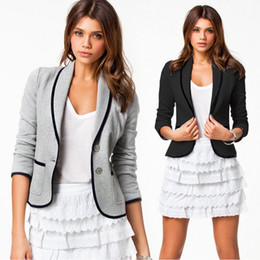Costume Spandex Gris Pas Cher-Fashion Plus Size blazer gris adapté à la mode haute rue blazers femme ladies brand jacket clothing two button cardigan Coat