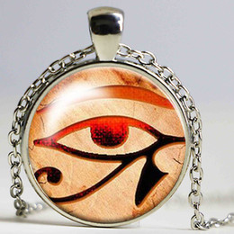 Vintage Glass Domes Necklace Australia - 2017 New Fashion 8 style 3 colors Glass Dome Necklace Vintage Eye of Horus Necklace Egytian Black Jewelry Glass Picture Pendant