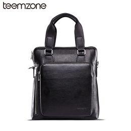 men leather tote bags 2019 - Wholesale- teemzone New Sale Business Men's 100% Genuine Leather Cowhide Messenger Bag Shoulder Briefcase Black 11&