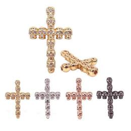 Forniture di gioielli Argento Nero Oro Colore Ottone Metallo CZ Gesù Croce Teschio Scheletro per gioielli per fare accessori, bracciale uomo Charms in Offerta