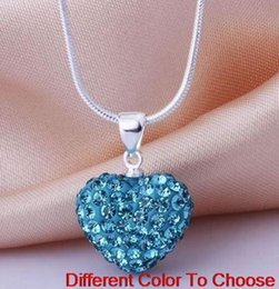 Pendant Clay NZ - fashion hotsale new wedding mircro pave disco Mix Colors beads clay heart silver plated crystall Crystal necklace pendant women y3422