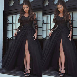 Barato Glamourosa Vestidos De Noite De Manga Comprida-2018 New Glamorous Sexy Black Long Sleeves Prom Dresses Front Split Floor Length Vestidos Evening Wear Cheap