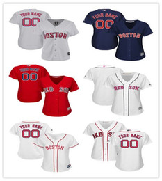 ... custom Women Boston Red sox Personalized Red White Gray Female Lady  wholesale Customized Baseball jerseys 100 ... 966f53210a4