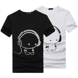 Vêtements Mignons À La Mode Pas Cher-Vente en gros-2017 Nouveaux Hommes d'été Femmes Unisexe Mignon Cartoon imprimé Funny T-shirt Coton Doux Vêtements Couple Meilleur Amis T-shirt Cheap
