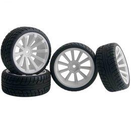 $enCountryForm.capitalKeyWord NZ - 4pcs RC HSP 601W-8003 Flat Racing Tires White Wheel Rim Fit 1:10 On-Road Car