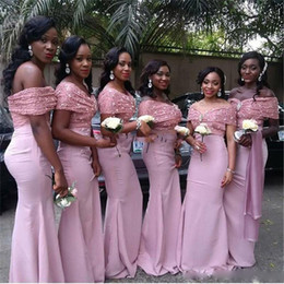 9a8f19cec0c Off Shoulder Bridesmaid Dresses 2017 Pink Lace And Satin Floor Length Black  Girl Formal Mermaid Party Dresses For Wedding Custom Made Cheap