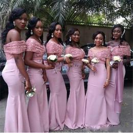 $enCountryForm.capitalKeyWord NZ - Off Shoulder Bridesmaid Dresses 2017 Pink Lace And Satin Floor Length Black Girl Formal Mermaid Party Dresses For Wedding Custom Made Cheap