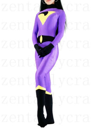 Barato Traje De Spandex Amarelo-Dark blue purple yellow DC Comics The Wonder Twins Jayna Spandex Traje de super-herói Trajes de Halloween