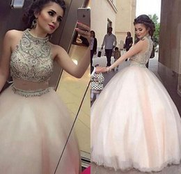 Discount quinceanera dress two pieces - Two-Piece Stunning Quinceanera Dresses Ball Gowns 2017 Halter Neck with Beads Crystal Tiered Tulle Floor Length 15 Girl