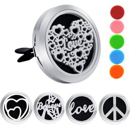 Love Oils Canada - Car Perfume Clips 30mm Heart Air Freshener Essential Oil Locket Love Auto Aromatherapy Dispel Peculiar Smell Locket