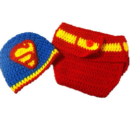 5dd1ec781b5588 Newborn Super Man Costume,Handmade Knit Crochet Baby Boy Girl Super Hero Hat  and Diaper Cover Set,Infant Toddler Photo Props