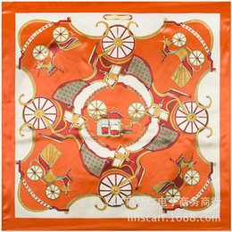 model horses NZ - Wholesale 90cm * 90cm Ladies Scarves Wind Horse Imitation Silk Classic Orange Large Square Spring Scarf Carriage Chain Models