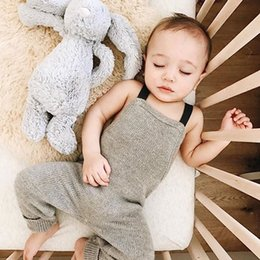 $enCountryForm.capitalKeyWord Canada - Baby Gray Knitting Rompers Toddler Boy Spring Autumn Overalls Holiday Playsuit Outfit for 3M-18M One Pieces Clothing