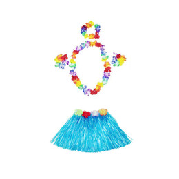 Chinese  30 Sets 30cm Hawaiian Hula Grass Skirt + 4pc Lei Set for Child Luau Fancy Dress Costume Party Beach Flower Garland Set ZA1581 manufacturers