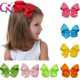 Barato Multi Cor Alligator Clips-4 Inch Hair Bow On Crocodilo Clip Color sólido Grosgrain Ribbon Little Girls Hair Bow One Tail