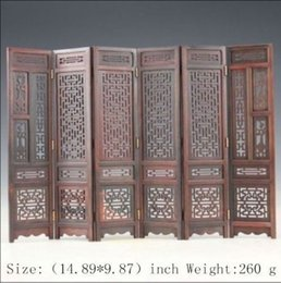Wholesale Collection Home Décor Folk Art Vintage Rare Asian Oriental Chinese Handwork Carved Red Acid Sticks Wood Screen