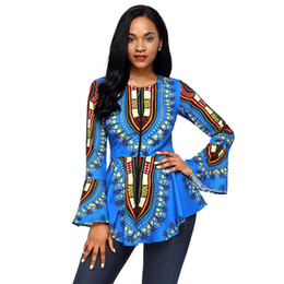 Barato Camisas Tribais De Impressão Mulheres-New Women's Blue African Tribal Print Zip Frente Peplum Jacket Blazer Office Wear Party Wear Club Wear T-Shirt Mulheres TOP