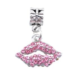 110a12551 Wholesale Crystal Cherry Kiss Dangle Charm 925 Sterling Silver European Charms  Bead Fit Pandora Snake Chain Bracelet Fashion DIY Jewelry
