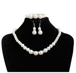 $enCountryForm.capitalKeyWord Australia - Fashion Pearl Bridal Jewelry set Pearl Earring Necklace Bracelet Set for Women Wedding Evening Prom Party