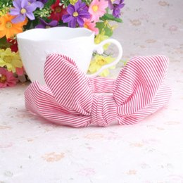Étirement En Gros Pas Cher-Vente en gros- Hot Sale Baby Girl Kids Soft Stretch Stripe Rabbit Ear Bow Turban Plaid Dot Hairband Headband Head Wrap Hair Fands Accessoires
