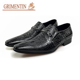 China GRIMENTIN Hot sale Italian fashion formal mens dress shoes genuine leather business wedding mens shoes for black brown men oxford shoes OM suppliers