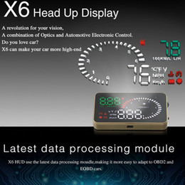 """Car Heads Up Display Australia - Wholesale- OBD II Interface X6 3"""" Universal Auto Car HUD Head Up Display Overspeed Warning Windshield Project Alarm System Fuel Consumption"""