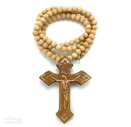 Good Wood Pendants UK - WOODEN INRI JESUS CROSS PENDANT WITH A 36 INCH WOOD BEADED NECKLACE GOOD CHAIN Free Shiipping