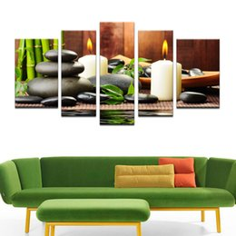 Free Shipping 5 Panel Wall Art Botanical Green Feng Shui White Candle Picture Canvas Paintings For Living Room Painting
