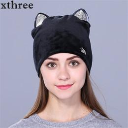 8 Photos Autumn hAts women For Sale - Xthree Flannelette Women Autumn Winter  Hat Cute Kitty Children Beanies 20e2c433230
