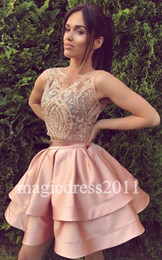 Sweet 16 Party Dresses Pink Canada - 2017 Two Piece Pink Sweet 16 Dresses A-Line Jewel Illusion Bodice Ruffled Pleated Cheap Homecoming Gowns Little Dress for Party Gowns
