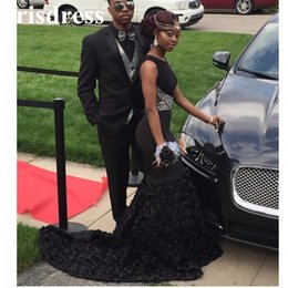 Discount american custom made prom dresses - Sexy Little Black Prom Dresses Mermaid Sleeveless Lace Sequined Layers Ruffles Evening Dresses African American Couple F