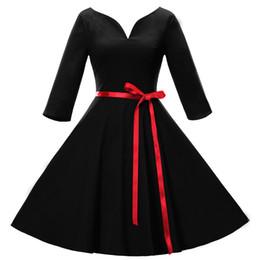 efc24fe7a9 Black Knee Length Skater Dress Canada - Free shipping Women Vintage 1940s  50s Shirtwaist Flared Dress