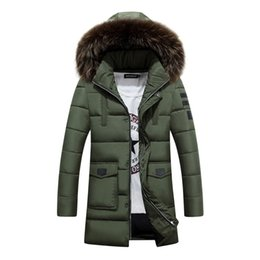 man fur hat UK - Wholesale- 2017 New Arrival Winter Jacket Men Cotton Padded Long Thick Warm Casual Hooded Male With Fur Collar Jacket Coat 125wy
