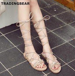 a2d77f629603c9 sexy gladiator Sandals handmade beading fringe ankle wrap flat shoes women  casual style 2 colors Size 35 To 40