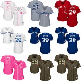 2017 womens baseball jersey toronto blue jays 29 devon travis white red cool base flexbase baseball