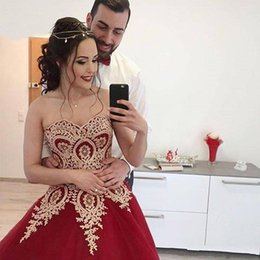 $enCountryForm.capitalKeyWord Canada - 2017 Gorgeous Ball Gown Sweetheart Burgundy Evening Dresses with Gold Lace Appliques Lace Up Back Women Party Gowns