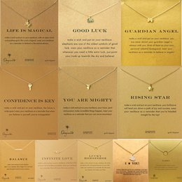 $enCountryForm.capitalKeyWord NZ - 11 Styles Dogeared Necklace Cute Beautiful Elephant Key Star Pegasus Pendant Clavicle Chain Golden Jewelry With Gold Card Wholesale