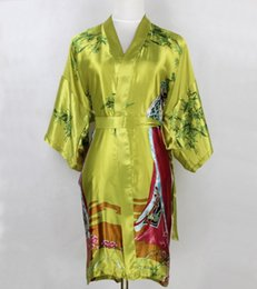 8fe485d306 All ingrosso-New Green Women Silk Kimono Robes Camicia da notte RobeBath  Gown Home wear YF7050
