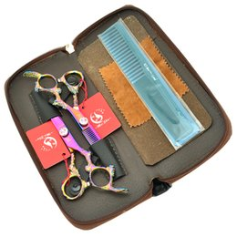 shears sets UK - 6.0Inch Meisha Tesouras Dragon Handle Hot Barber Scissors Set Hair Straight Scissors & Thinning Shears with Hairdresser Bag,HA0265