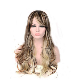 blonde long hair fashion UK - WoodFestival 68cm Blonde Ombre Wig Long Cheap Women Synthetic Wig Fashion Natural Hair Wigs Fiber Brown Mixed Wigs For White Women