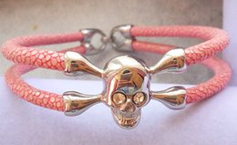 friendship day steel bracelet Canada - BC Friendship Gift fashion exclusive super fiber stingray skin bracelet leather with satinless steel bracelet jewelry skull