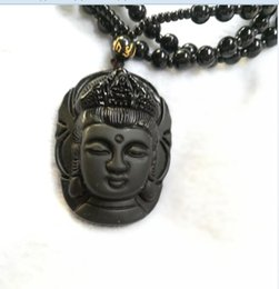 $enCountryForm.capitalKeyWord Australia - Natural Obsidian Necklace Fashion Black Ruyi Guan Yin Pendant For Women Men Vintage Fine Jade Jewelry Ornaments D6