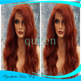 kanekalon lace wigs Canada - Cheap Extra Long Wine Red Synthetic Lace Front Wig Heat Resistant Wavy Burgundy Red Wig Kanekalon Natural Wig