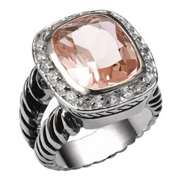 China Fashion Jewelry Rings Hot Sale Morganite 925 Sterling Silver High Quantity Ring For Men and Women Fashion Jewelry Party Gift Size 6 cheap sterling silver bars suppliers
