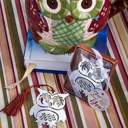 owl stationery Canada - Owl Book Markers Birds with Tassels Metal Bookmark Stationery for Kids Gift