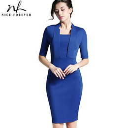 Vêtements De Soirée Pour Femme Mince Pas Cher-Vente en gros - Mode Femmes Robe d'été Cuir carré Manche Manche Costume Wear to Work Slim Evening Bodycon Party Robe de soirée 693