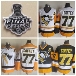 ... Throwback Pittsburgh Penguins 77 Paul Coffey Hockey Jerseys Black Paul  Coffey 1992 CCM Vintage Stitched Jersey ... c77bd2a34