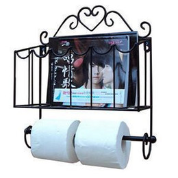 Paper Roll Holders Australia - Wholesale- Free Shipping! Fashion wrought iron furniture paper towel holder magazine rack wall bathroom shelf
